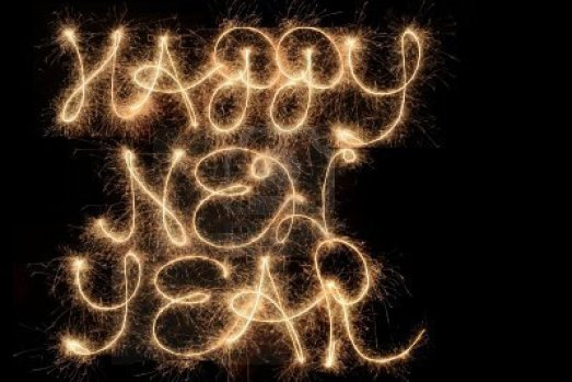 Happy New Year in sparklers