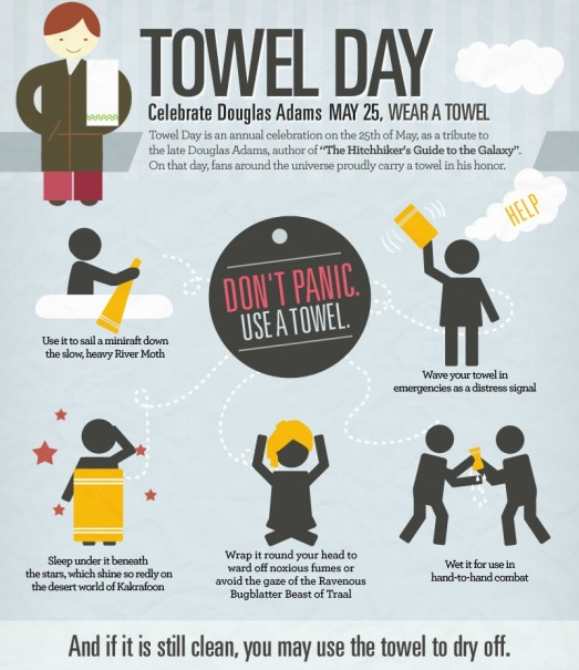 world towel day, douglas adams, The Hitchhiker's Guide to the Galaxy